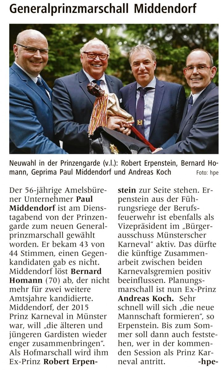 Paul Middendorf neuer Generalprinzmarschall